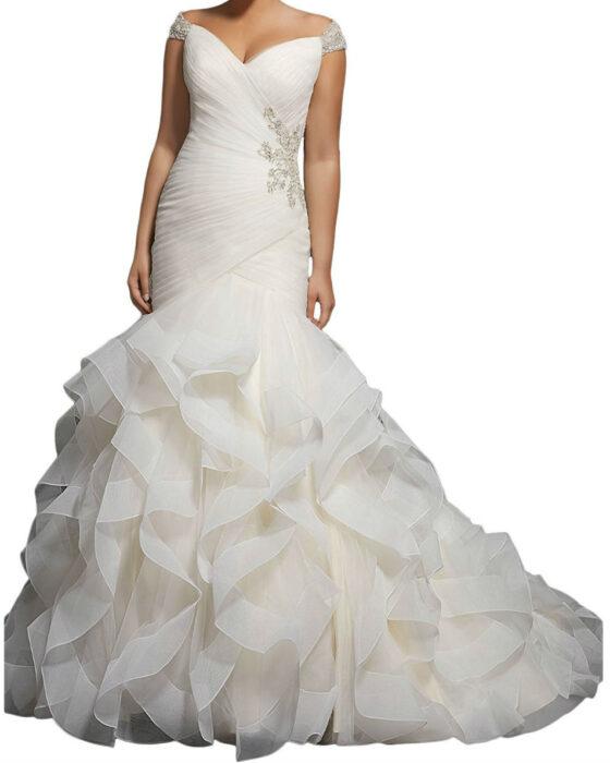 Beaded Cap Sleeves Pleats Mermaid Wedding Dresses