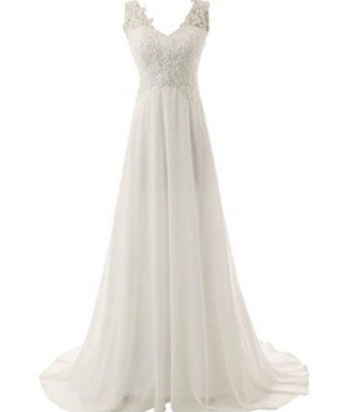 Elegant v-neck full length dress
