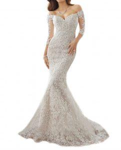 Mermaid wedding Ivory-half Sleeve