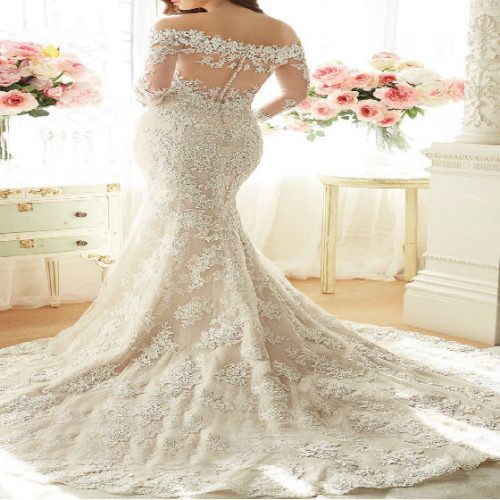 Mermaid wedding Light Champagne-half Sleeve back