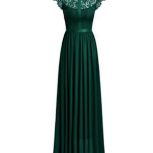 Wide Lace Dresses Chiffon Dress Green 1
