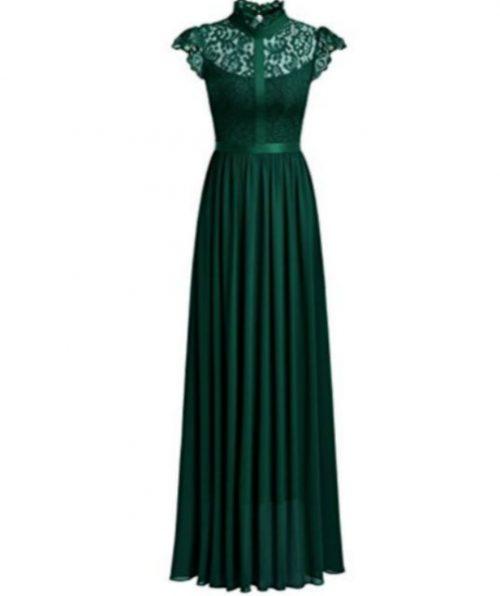 Wide Lace Dresses Chiffon Dress Green