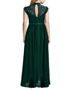 Wide Lace Dresses Chiffon Dress Green Back 1