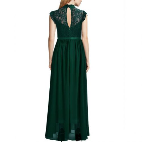 Wide Lace Dresses Chiffon Dress Green back