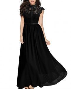 Wide Lace Dresses Chiffon Dress black