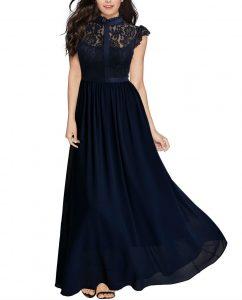 Wide Lace Dresses Chiffon Dress blue