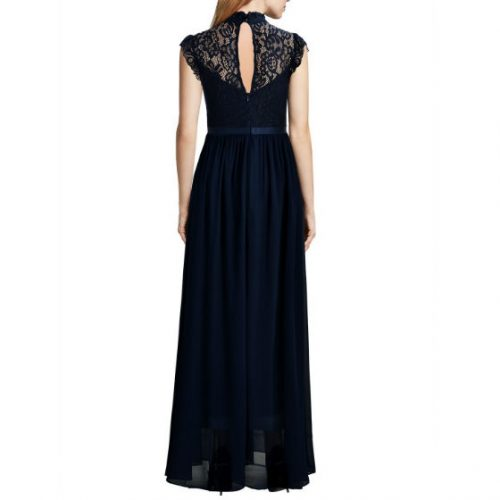 Wide Lace Dresses Chiffon Dress blue back