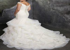 Womens Beaded Cap Sleeves Pleats Mermaid Wedding Dresses back