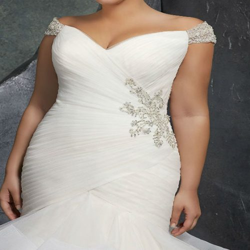 Beaded Cap Sleeves Pleats Mermaid Wedding Dresses