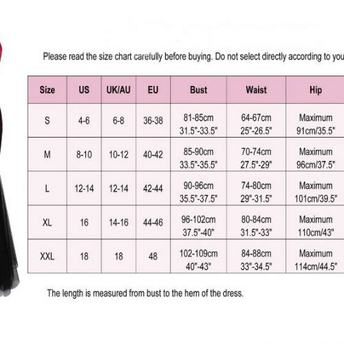 Black red ceremonia dress chart