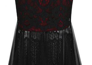 Black red ceremonia dress down legs
