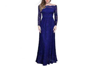 Dress Long Lace Maxi Cocktail blue