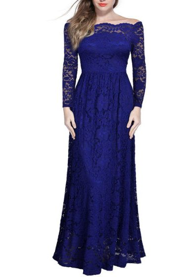 Dress Long Lace Maxi Cocktail blue