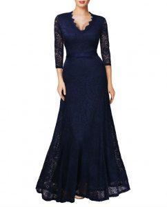 Elegant Long Dress Lace Cocktail Long Vintage Woman Evening Dress