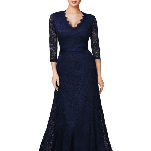 Elegant Long Dress Lace Cocktail Long Vintage Woman Evening Dress