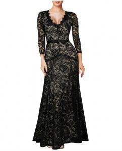 Elegant Long Dress Lace Cocktail Long Vintage Woman Evening Dress Black
