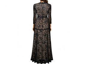 Elegant Long Dress Lace Cocktail Long Vintage Woman Evening Dress Black Back