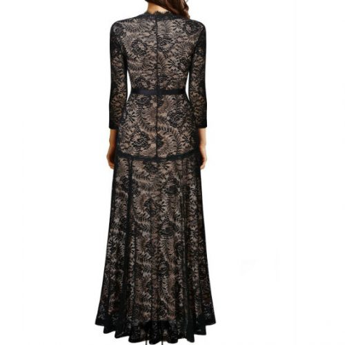 Elegant Long Dress Lace Cocktail Long Vintage Woman Evening Dress Black Back