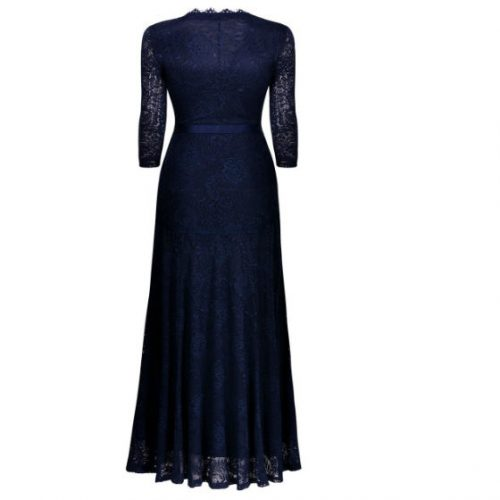 Elegant Long Dress Lace Cocktail Long Vintage Woman Evening Dress blue back