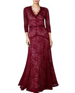 Elegant Long Dress Lace Cocktail Long Vintage Woman Evening Dress red