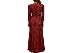Elegant Long Dress Lace Cocktail Long Vintage Woman Evening Dress red back