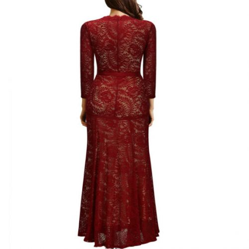 Elegant Long Dress Lace Cocktail Long Vintage Woman Evening Dress red back