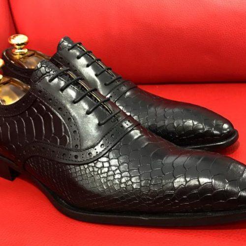 Formal zone semi croco design laces shoes