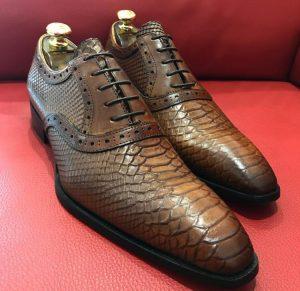 Formal zone semi croco design laces shoes Brown