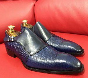 Formal zone semi croco shoes wiht buckle