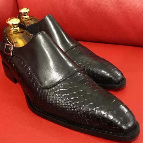 Formal zone semi croco shoes wiht buckle Black