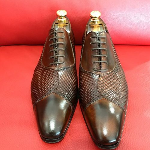 Formal zone shoes laces mat-shaped Brown