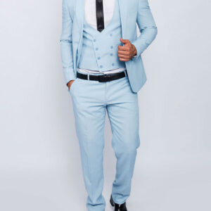 Men suit slim fit in light blu with vest