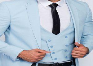 Men suit slim fit in light blu with vest half