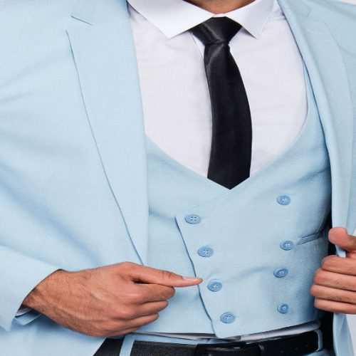 Men suit slim fit in light blu with vest half