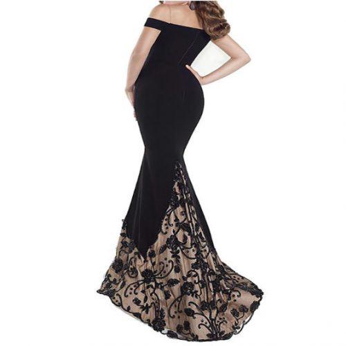 Slim Long Dress Backless Evening Black Back