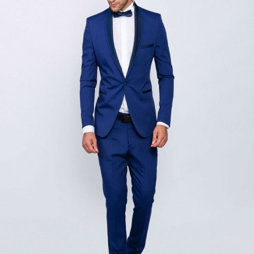 Slim fit men smoking in blue