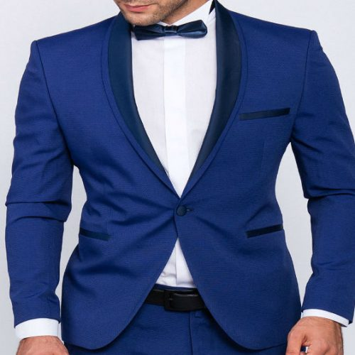 Slim fit men smoking in blu half