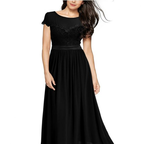 Vintage Cocktail Dresses Lace Long Women Dress Black