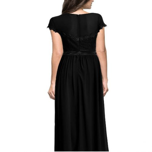 Vintage Cocktail Dresses Lace Long Women Dress Black back