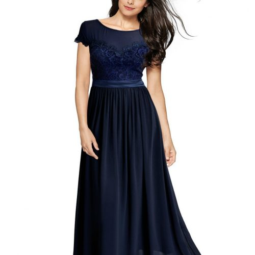 Vintage Cocktail Dresses Lace Long Women Dress Blue