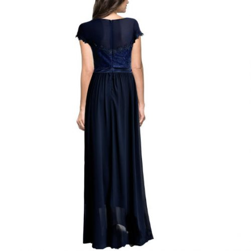 Vintage Cocktail Dresses Lace Long Women Dress Blue back