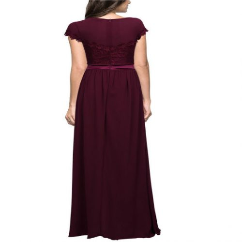 Vintage Cocktail Dresses Lace Long Women Dress red back