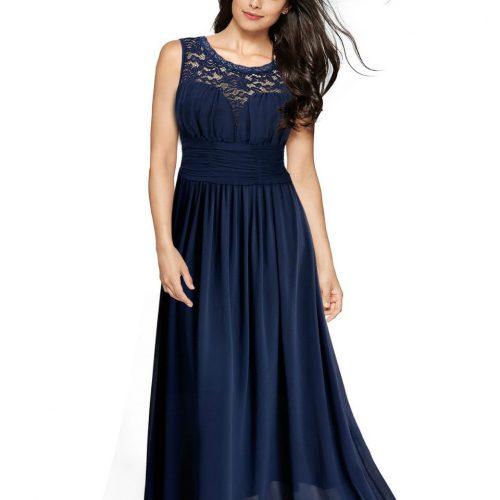 Vintage Cocktail Dresses Lace Long Women Dress short sleeve Blue