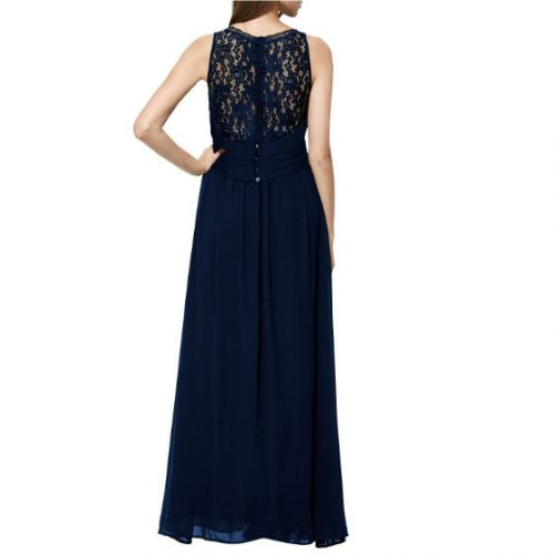 Vintage Cocktail Dresses Lace Long Women Dress short sleeve Blue back