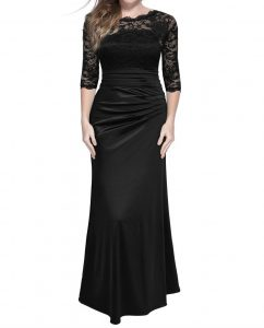 Vintage Woman Long Maxi Evening Dress Black