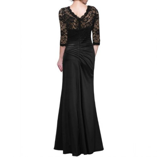 Vintage Woman Long Maxi Evening Dress Black Back