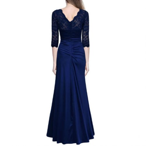 Vintage Woman Long Maxi Evening Dress Blue Back