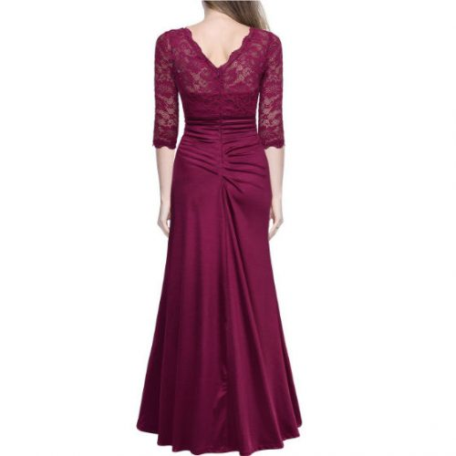 Vintage Woman Long Maxi Evening Dress Red Back
