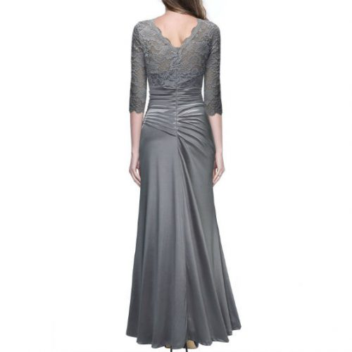 Vintage Woman Long Maxi Evening Dress grey back