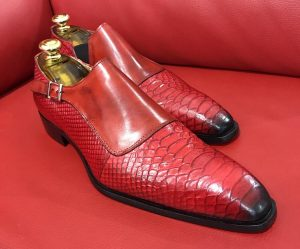 Vintage man Liame shoes, Italian hand made shoes Red